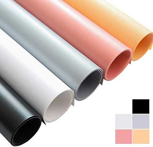 Selens 50x100cm PVC Telón de Fondo 5 Piezas Background Backdrop Impermeable Mate para Fotografía Estudio Fotográfico Foto Blanco/Negro/Gris/Rosa/Naranja