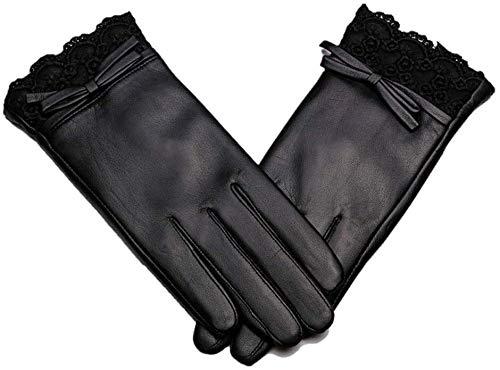 Guantes para hombre Guantes de cuero genuinos de los guantes forrada de lana de las mujeres los conductores de motocicletas Guante Guante al aire libre de otoño invierno y guantes a prueba de viento d