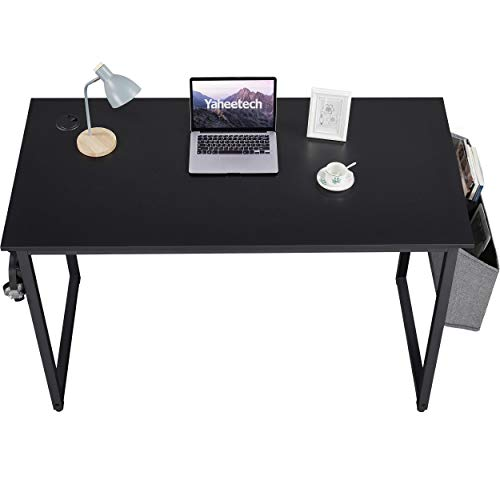 Yaheetech Computer Desk Home Office Large Writing Desk with Storage Bag/Earphone Hook for Home Office/Study/Library Black, 120x60x75cm