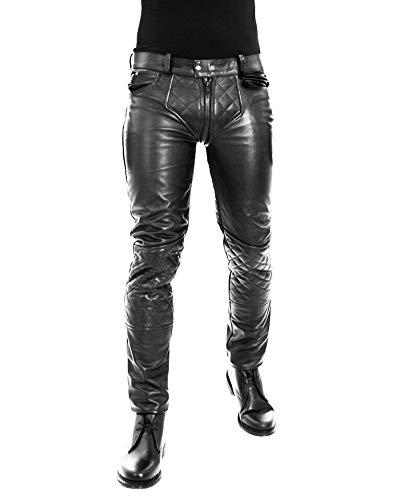 Bockle® 1G-Zip Lederhose Herren Tube Röhre Skinny Slim Fit Herren Lederhose mit durchgehendem Reißverschluss Zip, Size: W30/L32