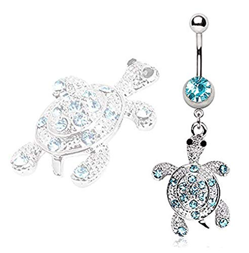 Covet Jewelry 316L Surgical Steel Aqua Gem Turtle Navel Ring