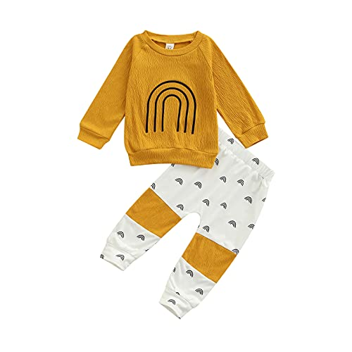 Toddler Baby Girls Boys Clothes Rainbow Print Long Sleeve Tops + Elastic Waist Pants Set 2Pcs Fall Outfit (Yellow, 3-4 Years)