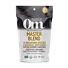 Contains - 1 pouch (90) of Om Master Blend Organic Mushroom Blend, containing Cordyceps, Reishi, Lions Mane, Turkey Tail, Chaga, Maitake, and more. Each serving of this organic mushroom complex provides over 2,000mg of functional mushroom powder Supe...