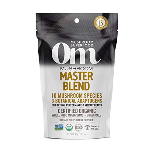 Om Organic Mushroom Nutrition Superfood Powder, Master Blend, 3.17 Ounce (30 Day Supply), Whole Food Mushrooms & Botanicals, Optimal Health and Immune Support Supplement