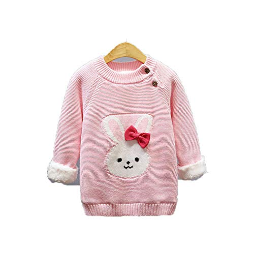 Baby Girls Winter Sweater Kids Cotton Thick Velvet Pullover Sweater for Baby Girls Children Clothing Cartoon Tops pink 4T