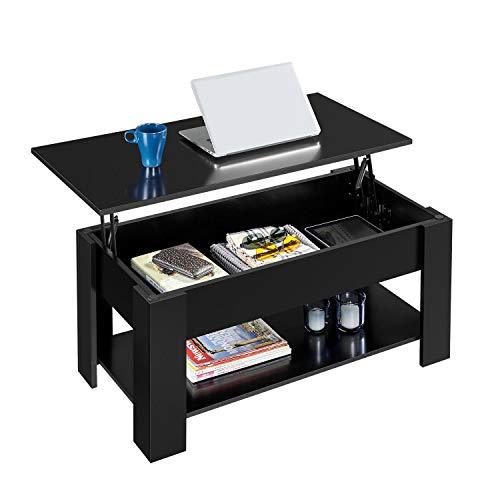 Yaheetech Tavolino da caffè Sollevabile Elevabile Tavolo Moderno da Divanocon Ripiano Inferiore Salotto Soggiorno 98 x 50 x 42-56 cm Nero