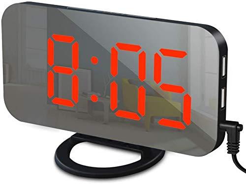 Reloj despertador con cargador USB, reloj despertador digital para dormitorios, modo de atenuación automático/manual de brillo ajustable para mesita de noche (negro/rojo)