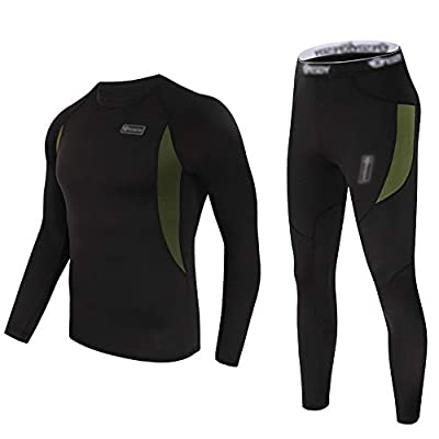 Thermal Underwear Set Winter Hunting Gear Sport Long Johns Base Layer Bottom Top Midweight Black M