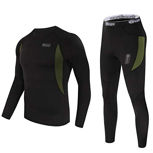 Thermal Underwear Set Winter Hunting Gear Sport Long Johns Base Layer Bottom Top Midweight Black L