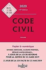 Code civil 2020, annoté - 119e ed. de Pascale Guiomard