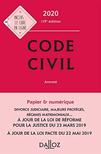 Code civil 2020, annoté - 119e éd. (Codes Dalloz Universitaires et Professionnels)
