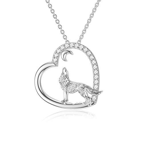 ROMANTICWORK Collar de lobo de plata de ley con colgante de corazón de lobo, joyería de cumpleaños para mujeres y niñas hermana