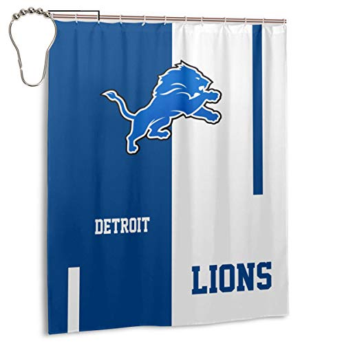 Xihe Fashion Detroit Lions Shower Curtain Fabric 36x 72 ,60x72 Inch for Bathroom Decor Set, Water Resistant Shower Curtain with Hooks, and Durable,Easy to Install