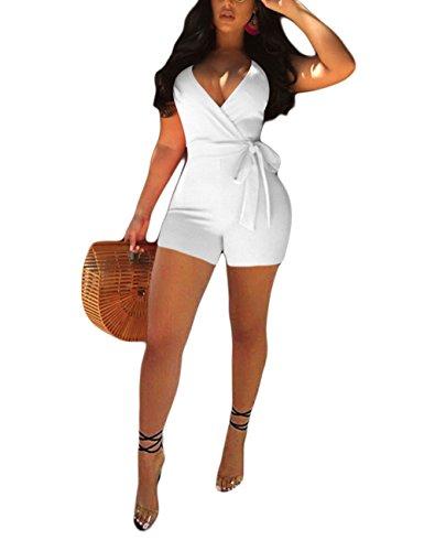 Akmipoem Sexy White Shorts Romper for Women Spaghetti Strap V Neck Tie Waist Solid Jumpsuit Playsuit White 2XL