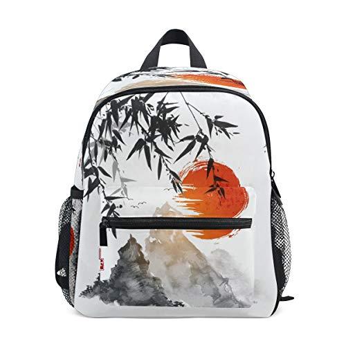 RXYY Kinder Rucksäcke Bambus Baums rot Sonne Bergs Tagesrucksäcke Reise Kleinkind Vorschule Schule Tasche Beiläufig Rucksack mit Truhe Gurt zum Mädchen Jungs