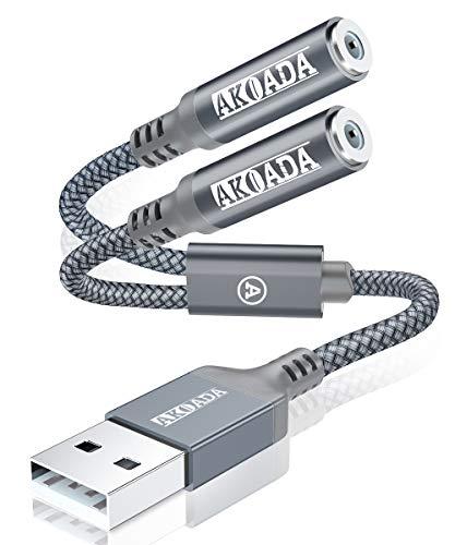 USB A auf 3.5mm Klinke Aux Adapter (30cm),Akoada USB Externe Soundkarte USB A zu 2 x 3.5mm AudioAdapter für Mikrofon,Laptop, PC,Linux, Desktops, PS4,Kopfhörer, Lautsprecher und mehr Gerät (Grau)