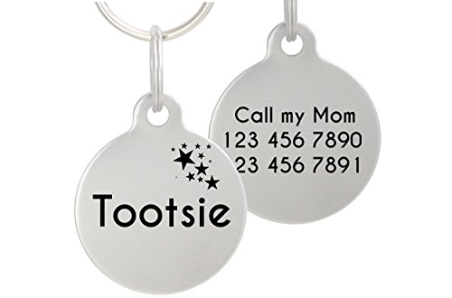 Double Sided Laser Etched Stainless Steel Pet ID Tag for Dog and Cat Engraved and Personalized 1' Round Shape (Stars)