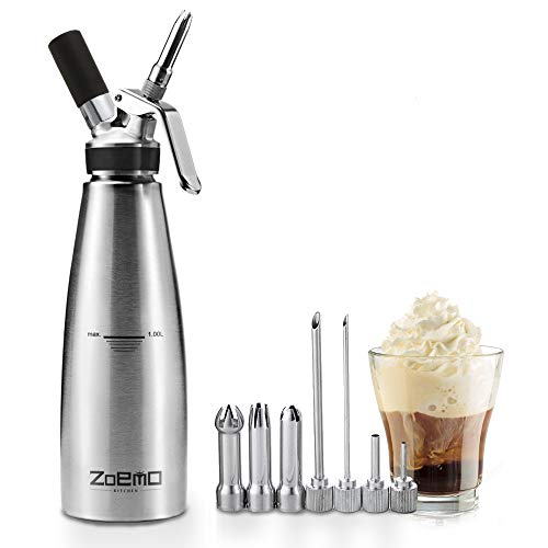 ZOEMO All Metal Steel Whipped Cream Dispenser 1 Quart - Professional Culinary Cream Whipper with Full Set Injector Tips Free Recipes Included