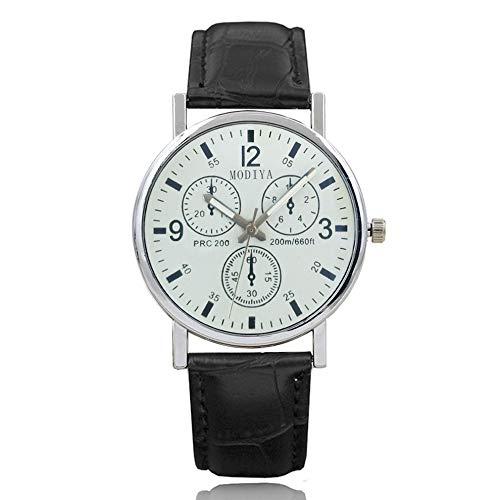 QiKun-Home Mode heren roestvrij stalen horloge horlogebandje ronde lederen armband herenhorloges quartz horloge quartz klok wit 7 zwart
