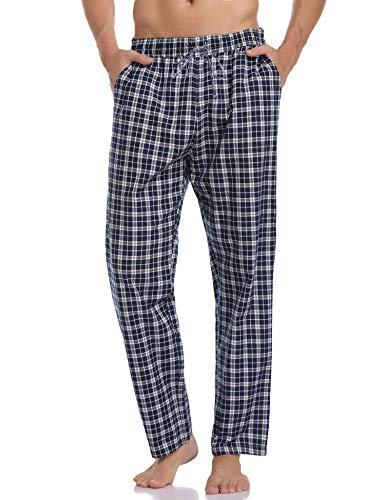 Hawiton Pantalones de Pijama Hombre Algodón Largo Pantalones de Dormir Hombre Invierno de Cuadros Pantalón Pijama de Estar por Casa