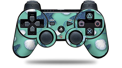 Sony PS3 Controller Decal Style Skin - Starfish and Sea Shells Seafoam Green (CONTROLLER NOT INCLUDED)
