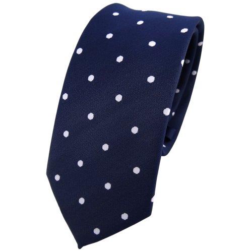 TigerTie - corbata estrecha - azul oscuro royal blanco lunares