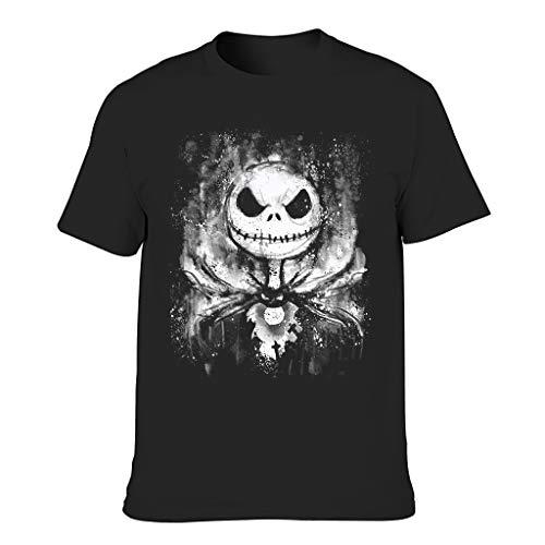 Xuanwuyi Halloween Horror Antes de Navidad Jack Camiseta de manga corta Gimnasio y Entrenamiento Activewear Pesado Algodón Cuello Redondo para Jóvenes y Adultos