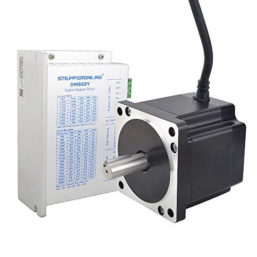 Stepperonline - Kit CNC con 1 asse per motore passo-passo Nema 34 da 4,8 Nm 6A e driver per motore passo-passo da 2.4 - 7.2A AC 18-80V / DC 36-110V per macchina per incisioni CNC, stampante 3D