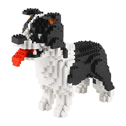 Larcele Bloques de construcción para perros pequeños, 950 piezas KLJM-02 (Border Collie) reutilizables
