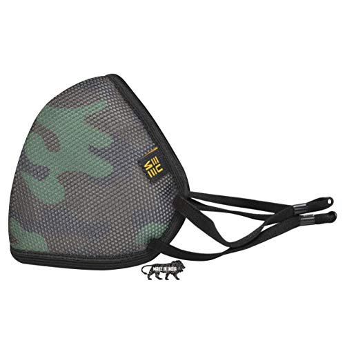 EUME Protect+ 95 4 Layer Reusable Washable Face Mask for Men and Women with Anti Dust, Anti-Pollution Shield, Adjustable Nose clip and Comfortable Strap with Super Soft, Breathable Cotton Fabric & Personal Name Tag for Home and Office- Made in INDIA (Camo Green, Pack of 1)