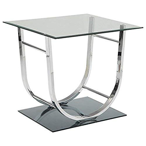 Coaster 704987-CO Glass Top End Table, Chrome