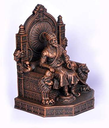 Rachana Creation Chhatrapati Shivaji Maharaj Small Statue for car Dashboard and Desktop (Copper)