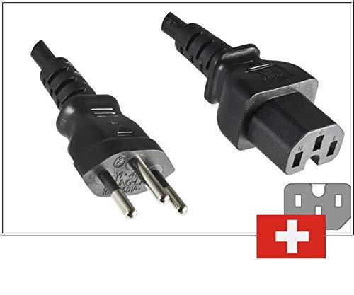 DINIC Stromkabel, Netzkabel für die Schweiz auf C15 Warmgerätestecker 1,8m