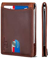 SERMAN BRANDS RFID Blocking Slim Bifold Genuine Leather Minimalist Front Pocket Wallets for Men with Money Clip (Canyon Red 1.0)