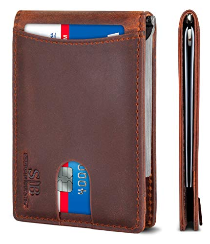 SERMAN BRANDS RFID Blocking Slim Bifold Genuine Leather Minimalist Front Pocket Wallets for Men with Money Clip Thin Mens (Canyon Red 1.0)