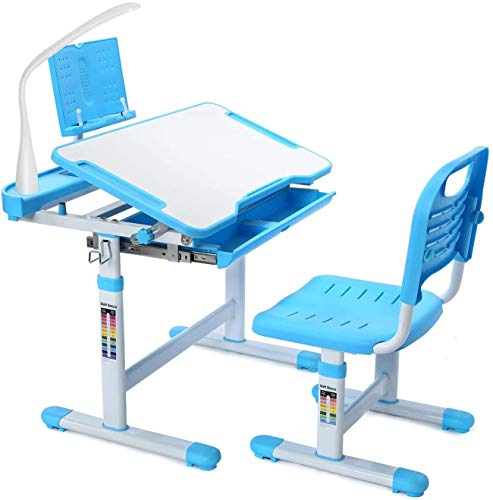 SAINGACE Children Study Table,Height Adjustable Kids Desk and Chair Set, Student Writing Desk with Tilt Desktop Storage Drawer Bookstand for Studying, Reading and Drawing(27.55x15.7) (Blue)