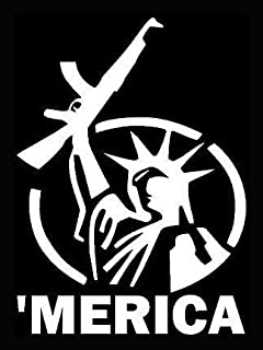 Merica Liberty AK-47 Funny Decal Vinyl Sticker Cars Trucks Vans Walls Laptop  White  5.5 x 4 in LLI036