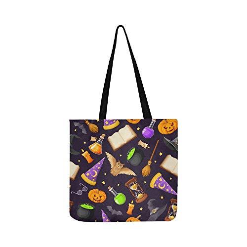 Vector Nahtloses Muster magische Symbole Bücher Canvas Tote Handtasche Schultertasche Crossbody Taschen Geldbörse für Männer und Frauen Einkaufstasche