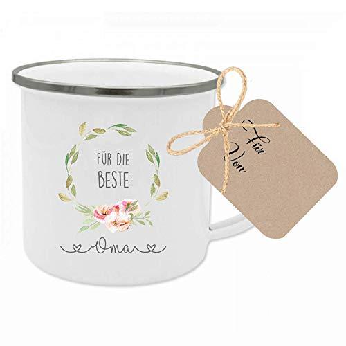 """Manufaktur Liebevoll Tasse mit Spruch """"Für die beste Oma"""" I Das perfekte Geschenk für die Oma I Geschenkidee zum Geburtstag und als Dankeschön I mit Geschenkanhänger"""