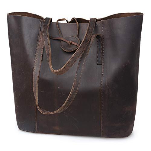 Bolsa de couro genuíno vintage premium Jack&Chris, bolsa de laptop de 15 polegadas, bolsa de ombro grande para mulheres MC506, Darkbrown, Large