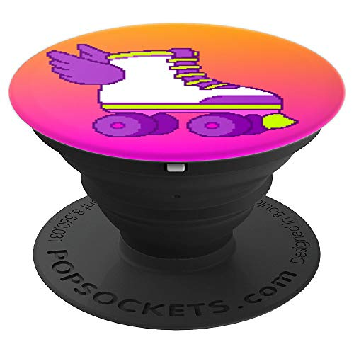 Cute Gamer Girl 8-Bit Roller Skates Video Game Orange Pink PopSockets Grip and Stand for Phones and Tablets