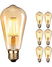 Edison gloeilamp, Dobee Edison Vintage LED-lamp E27 (4W/220V) 2600-2700K Retro gloeilamp vintage antieke gloeilamp, amber warm, 6 stuks [energieklasse A ]