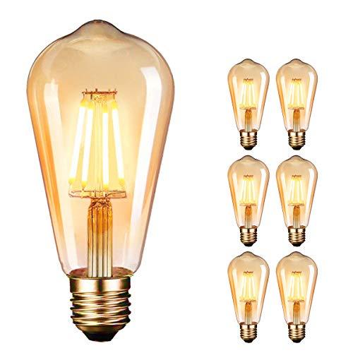 Ampoule LED Edison,Dobee Lampe Edison Vintage 4W 400LM 2600-2700K Angle de faisceau à 360° E27 ST64 Lampe Décorative Ampoules à incandescence Rétro Ampoule Edison 6 Pack [Classe énergétique A++]