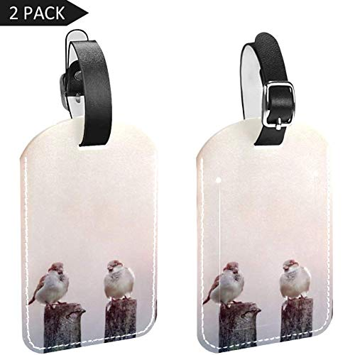 LORVIES Mussen in een rij op houten hek Bagage Tags Reizen Labels Tag Naam Kaarthouder voor Bagage Koffer Tas Rugzakken, 2 PCS
