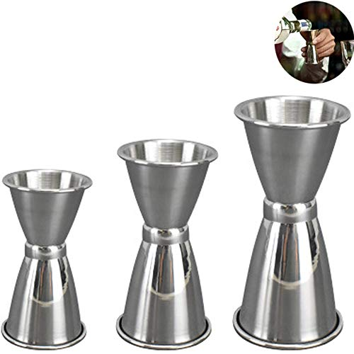 Jigger Doble Cara,3 PCS Vaso Medidor Cocktail Acero Inoxidable Licor Taza de...
