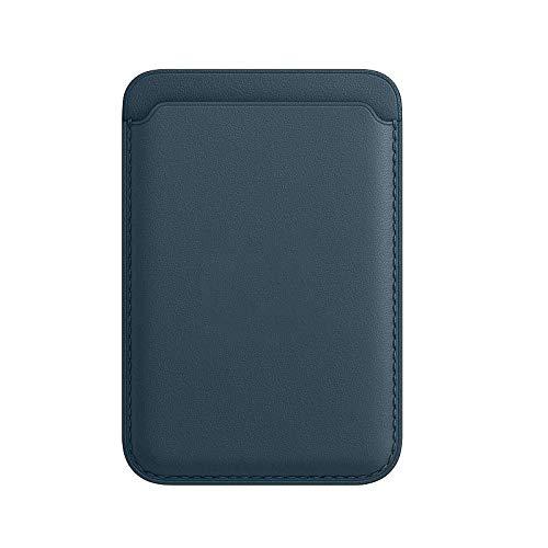 Tarjetero De Piel, Apto para iPhone 12 Mini/Pro/MAX, con Imán mag-Safe y Diseño RFID, Ultrafino y Portátil (Azul Báltico)