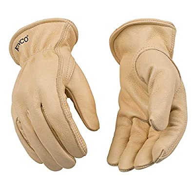 Kinco - Unlined Cowhide Leather Work Gloves, Extremely Durable, Easy-On Cuff, Fitted Elastic Wrist, (Style No. 98)