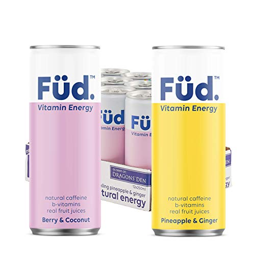 Mixed Case Brain Füd Vitamin Energy Drink, Fruity Sparkling Water with Natural Caffeine, B-Vitamins & Electrolytes 250 ml 12-Pack