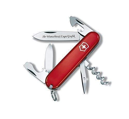 Original Victorinox Couteaux de Poche Modèle Touriste avec Personnel Gravure sur Lame Gravé avec Logo Motifs Caractères ou Graphique Fin Laser-Gravure 0.3603