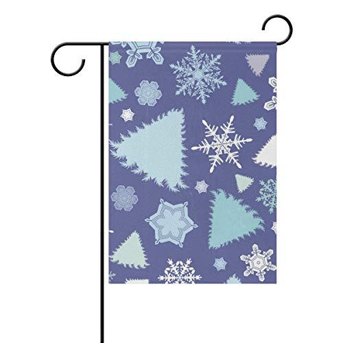 REFFW Bleu Forêt De Noël Arbre Flocon De Neige Motif Jardinage Bannière Maison Jardin Drapeau Double Face Hipster pour en Plein Air Pelouse Décor